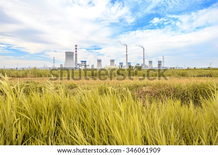 grass,skyline and landscape of power plant
