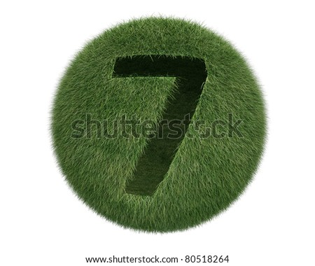 Grass Sphere number 7 on white background. Isolated 3d model - stock photo