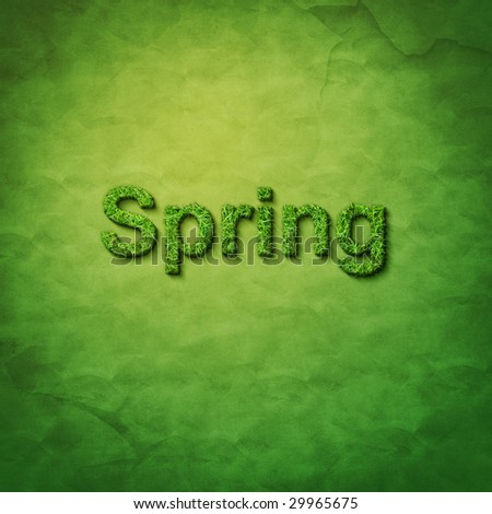 grass spring word on green sackcloth