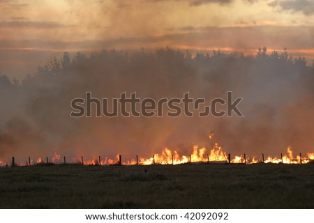 Grass/Stubble fire on a farm in Canterbury, New Zealand, at Dusk - stock photo