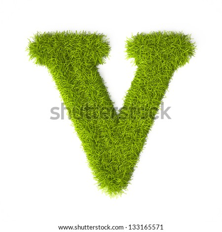 Grass style Latin Alphabet Letter V Isolated on white background