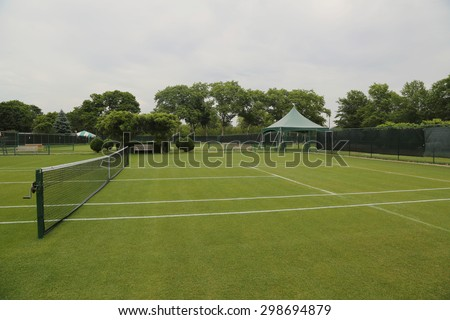 Grass tennis courts - stock photo
