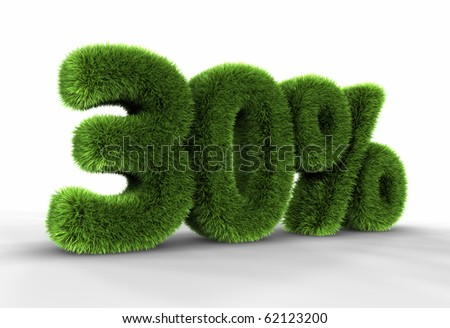 Grass thirty percent, isolated on white background. 30% - stock photo