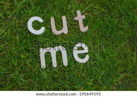 grass with cut me in wooden letters - stock photo
