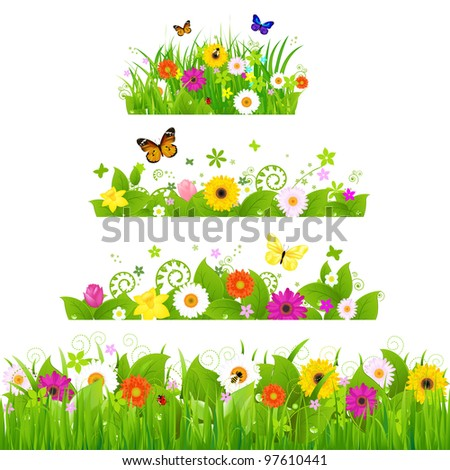 Grass With Flowers Set - stock photo