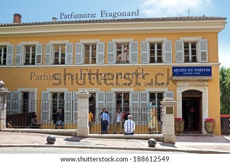 GRASSE, FRANCE - MAY 3: Parfumerie Fragonard Factory on May 3, 2013 in Grasse, France. Fragonard perfumery is one of the oldest factory in the world capital of perfumes.  - stock photo