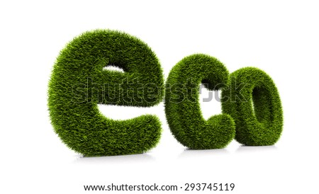 grassed conceptual word eco isolated on white background - stock photo