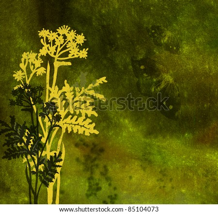 Grasses and butterflies on an ancient dim background - stock photo
