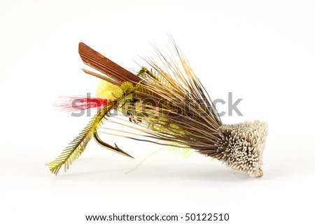 Grasshopper fly for angling - stock photo