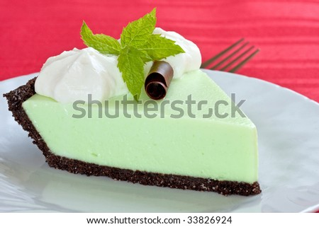 grasshopper pie (mint cream pie on chocolate crumb crust)