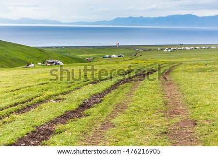 grassland nearby Sayram Lake in Ili, Xinjiang, China