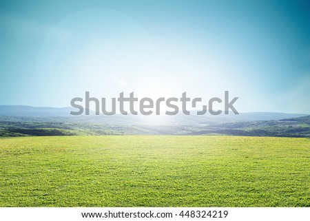Grassland sky natural landscape like no other .. Environment Day concept. Ideas Ecology. . Sustainable Development - stock photo