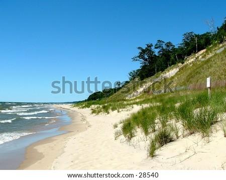 grassy dune on Lake Michigan - stock photo