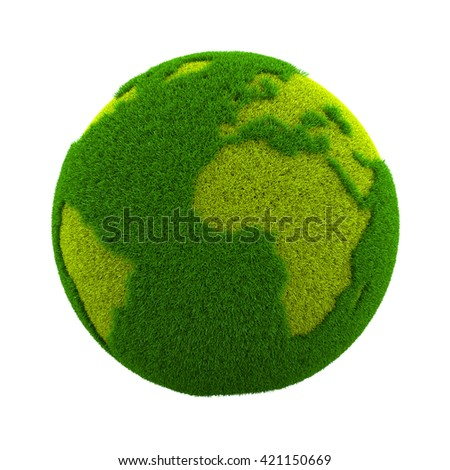 Grassy Green Earth Planet Isolated on White Background 3D Illustration