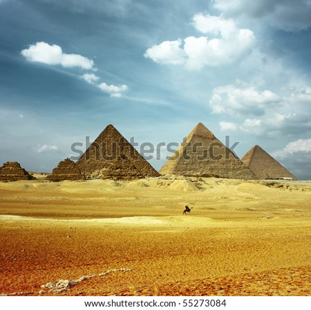 Grate pyramids in Giza valley - stock photo