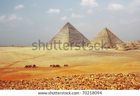 Grate pyramids in Giza valley. Egypt - stock photo