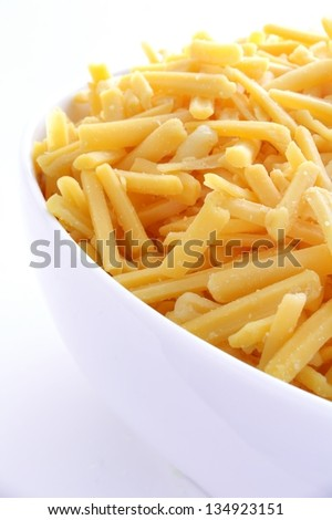 grated cheese in white bowl - stock photo