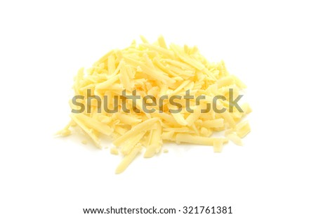 Grated cheese, isolated on a white background - stock photo
