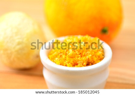 Grated citrus (orange and lemon) rind. cooking ingredient. close up - stock photo