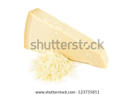 grated parmesan on white background - stock photo