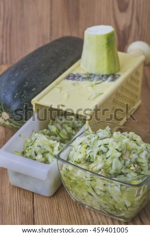 Grated zucchini for culinary use.Selective focus
