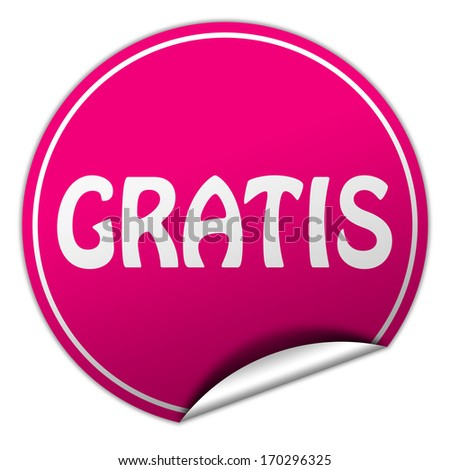 gratis pink round sticker on white background - stock photo