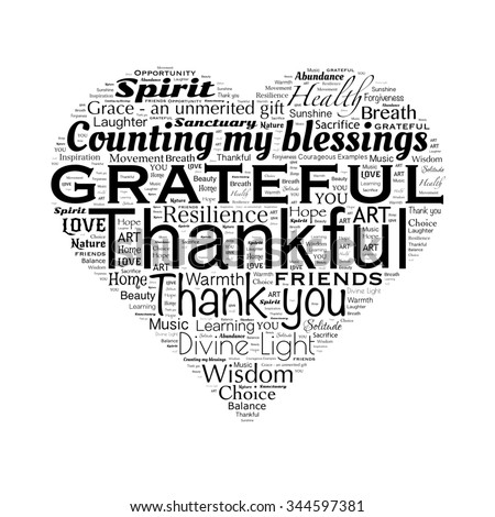 Gratitude word cloud in heart shape, black and white - stock photo