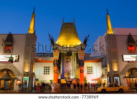 Grauman's Chinese Theater in Hollywood at night - stock photo