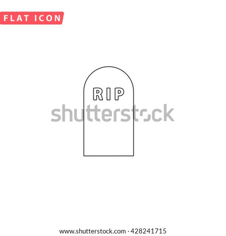 Grave. Black outline simple pictogram on white. Line icon - stock photo