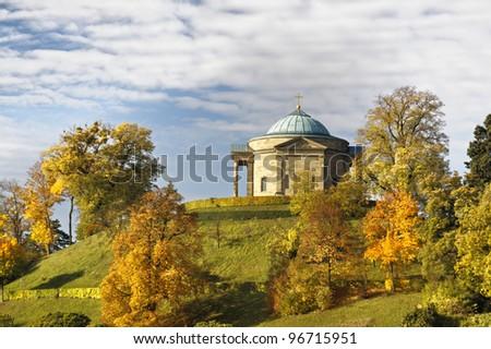 Grave chapel at Stuttgart in autumn, Germany - stock photo