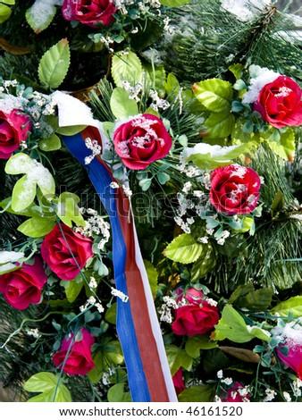 Grave flowers decoration - stock photo