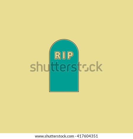 Grave. Grren simple flat symbol with black stroke over yellow background - stock photo