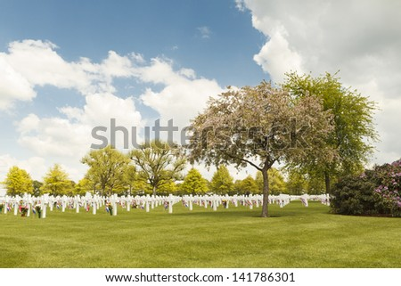 Grave markers at the American War Cemetery of Margraten in the Netherlands - stock photo