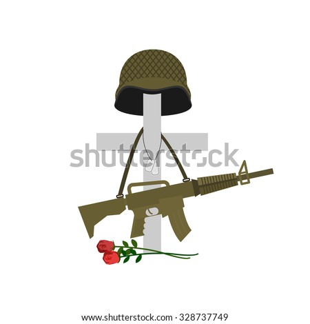 Grave of a fallen soldier. Death of the military. Cross and helmet. Automatic gun hanging on monument. Tomb of a military veteran.  Illustration of Memorial Day  - stock photo