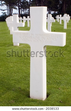 Grave of unknown soldier at the American Cemetery at Omaha Beach, Normandy, France - stock photo