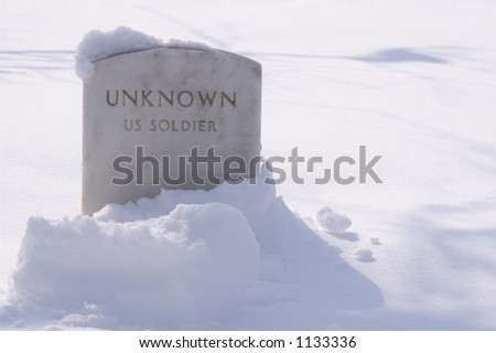 Grave of Unknown Soldier in the Snow - stock photo