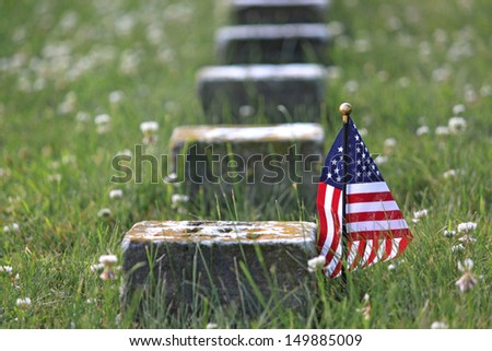 Grave of unknown Union soldier who fought during the Civil War - stock photo