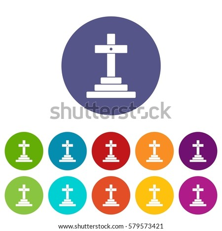 Grave set icons in different colors isolated on white background