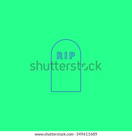 Grave. Simple outline illustration icon on green background - stock photo