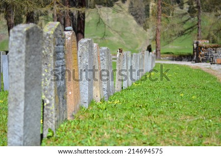 Grave Stone at cemetery - stock photo
