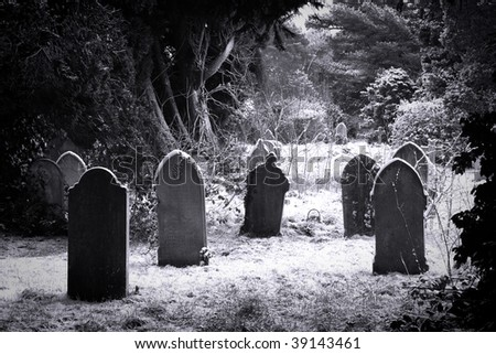 Grave stones in the snow in black and white - stock photo