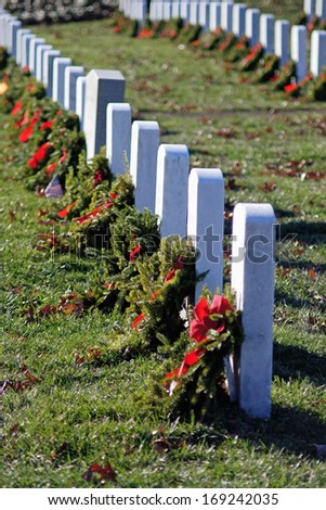 Grave tombstones in Arlington National Cemetery - stock photo