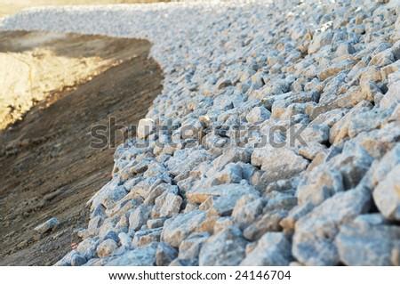 Gravel embarkment - stock photo