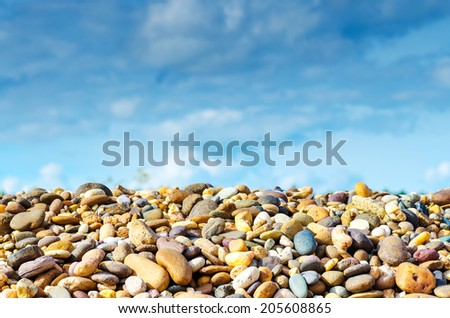 Gravel landscaping , Gravel and landscape ,Conglomerate ,Gravel shallow depth , Gravel texture - stock photo