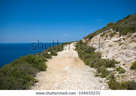 Gravel path at the slope of the mountain