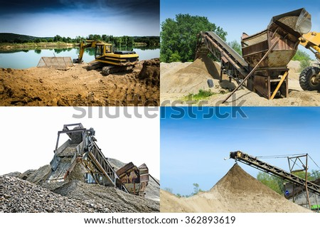 Gravel pit, multiple images - stock photo