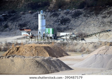 Gravel Pit Plant with loads of dusty Gravel - stock photo
