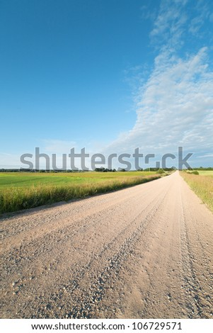 Gravel road in countryside.