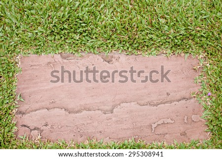 Gravel texture and strip grass with as background - stock photo