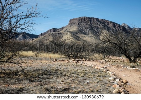 Gravel trail leads to Whetstone Mountains at Kartchner Caverns State Park near Benson, Arizona state, USA/Heads Up/Trail in Kartchner Caverns State Park, southeastern Arizona, USA - stock photo